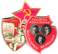 Swedish political pins, communist and socialist.