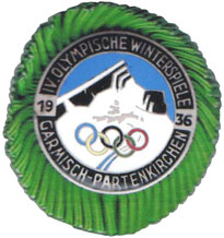 Olympic games Garmisch-Partenkirchen 1936, press badge.